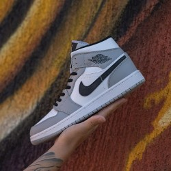 "Jordan 1 Mid ""Light Smoke Grey"""