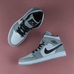 "Jordan 1 Mid ""Light Smoke Grey"" (GS) (W)"