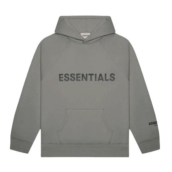 """FEAR OF GOD ESSENTIALS 3D Silicon Applique Pullover Hoodie """"Gray Flannel"""""""