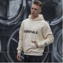 "FEAR OF GOD ESSENTIALS 3D Silicon Applique Pullover Hoodie ""Buttercream"""