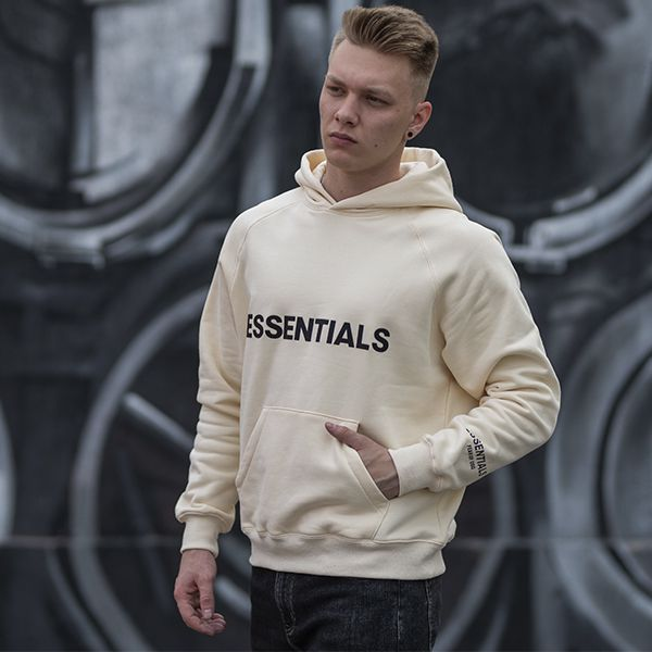 """FEAR OF GOD ESSENTIALS 3D Silicon Applique Pullover Hoodie """"Buttercream"""""""